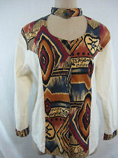 Vintage 80s Tribal Blouse Shirt Size L Ozark Mountain Jean Co Costume