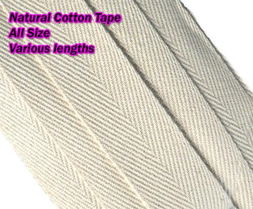 Sangles en coton naturel beige bunting Herringbone TABLIER couture ruban 50 mtr Rouleau