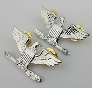 US-COLONEL-RANK-INSIGNIA-US-COLONEL-HAT-LAPEL-PIN-PAIR-METAL