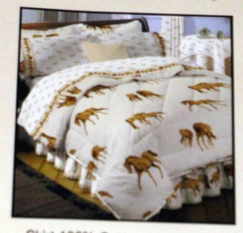 BROWN HORSES /& HORSE SHOES on ECRU BED SKIRT King Size Hit The Hay NWOT