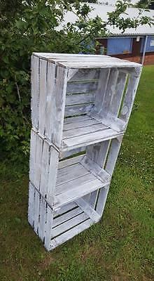 Fiducioso 1 X Bianco Wash In Legno Massello Vintage Apple Crate Box Dipinto Matrimonio Decorazione/-