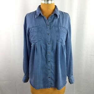 Style-amp-Co-Womens-Top-Denim-Chambray-Relaxed-Pleated-Roll-Tab-Sleeve-Size-M