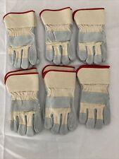 New Lot Of 6 Leather Work Gloves Sz Medium Med 9 Gardening