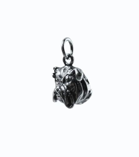 Pure .925 Oxidised Sterling Silver.1//2 inch long 2.2 gram Bulldog Charm Pendant