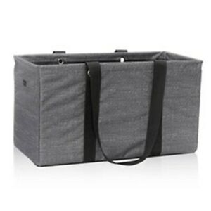 Thirty One MEDIUM Utility Tote in Charcoal Crosshatch NEW in Package
