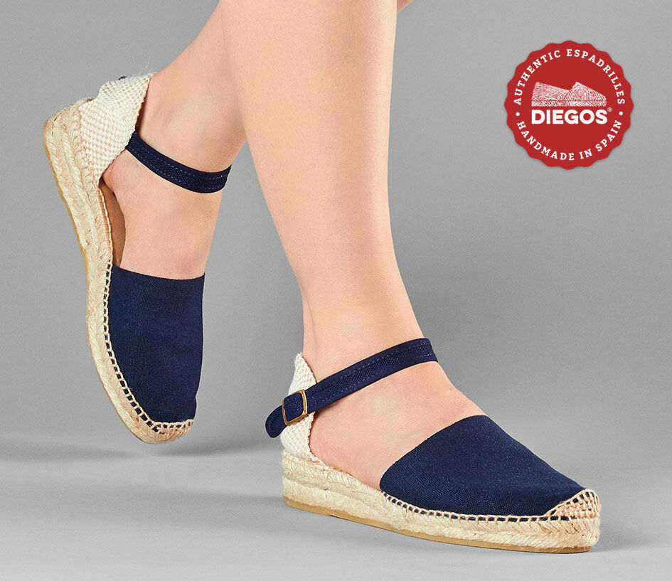 Diegos® Classic Spanish Handmade Navy bluee Ankle-strap Espadrilles for women