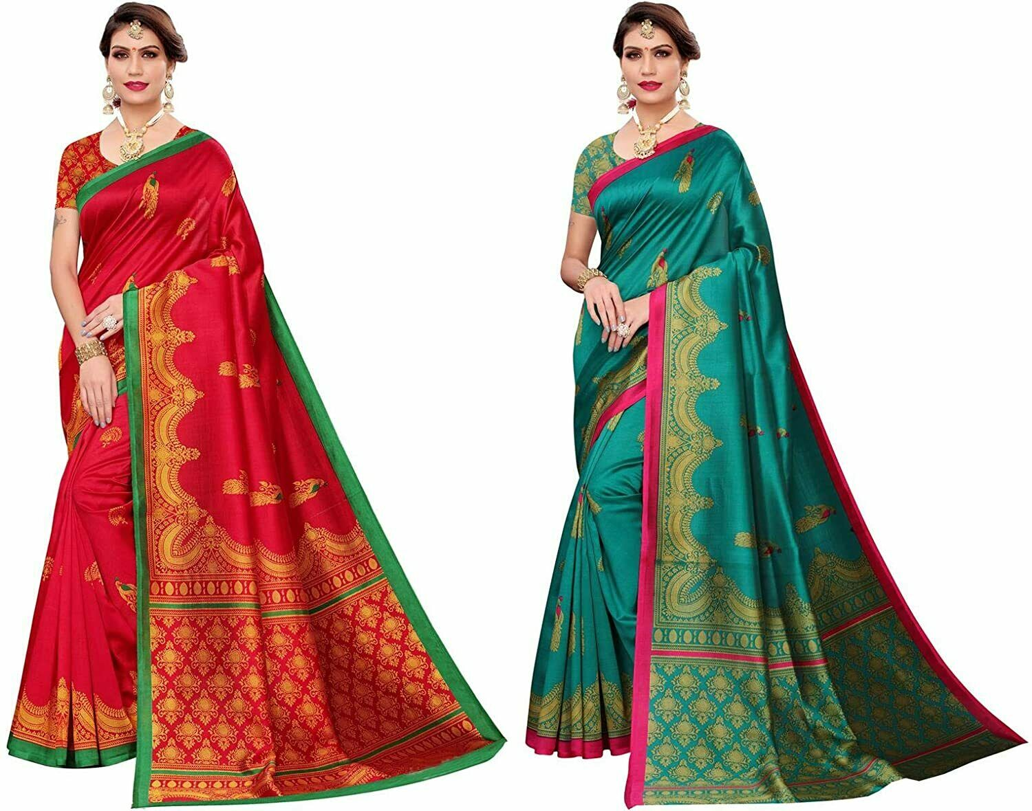 Women's Multicolor Art Silk Saree With Blouse Pack of 2 ( Free Shipping )