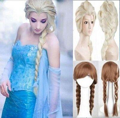 Queen Elsa Princess Anna Blonde Weaving Braid Cosplay Wig Adult or Kids