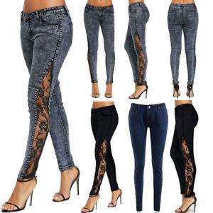 New-Womens-Skinny-Lace-Crochet-Stretch-Denim-Slim-Trousers-Trousers-Jeans-Pants