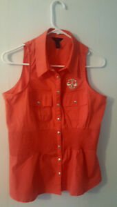 Pre-Owned-Women-s-XL-Orange-Dereon-Sleeveless-Top