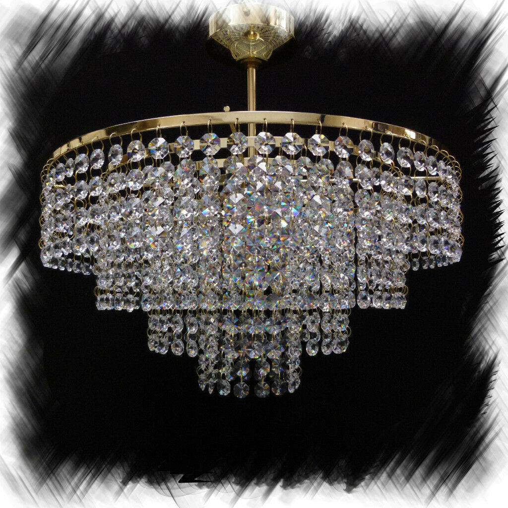 LEAD CRYSTAL CHANDELIER CEILING LIGHT Gold M-Moss40G