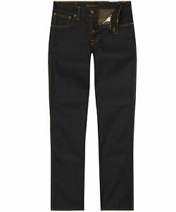 Nudie Herren Slim Fit Raw Dry Bio Denim Jeans Hose | Slim Jim Dry Dark