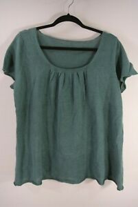 Eileen-Fisher-Linen-Top-in-Teal-size-Large