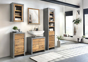 badm bel set burnham 5teilig pinie beton optik wandschrank badschrank holz m bel ebay. Black Bedroom Furniture Sets. Home Design Ideas