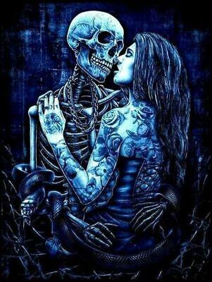 Full Drill Diamond Painting Kit Gothic Skull Skeleton Dead Love  Z072D