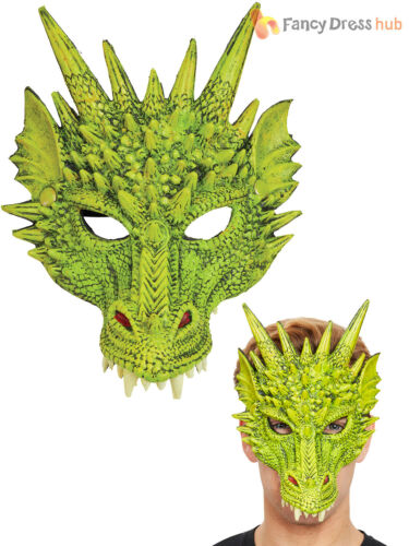 Adults Dragon Mask Mens Red Green Animal Fancy Dress Accessory Horror Halloween