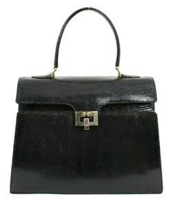 GUCCI-Vintage-Black-Lizard-Skin-Top-Handle-Kelly-Satchel-Bag