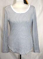 Eddie Bauer Travex - M - - Gray & White Texture Striped Scoop Neck Knit Top