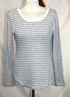 Eddie Bauer Travex - M - - Gray & White Texture Striped Scoop Neck Knit Top