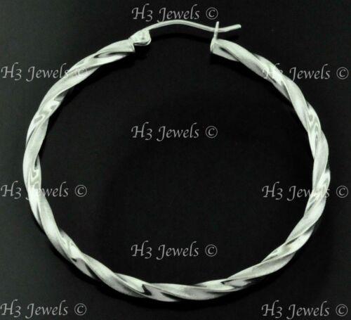 14k white gold  hollow twist hoop earring 3.50 grams 1 5//8 inch #7650