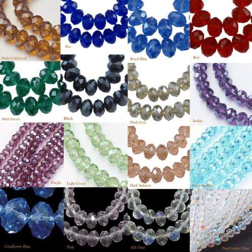 8mm 16 Colors Faceted Crystal Glass Bead Pearl Luster Rondelle LUSCIOUS SPARKLE