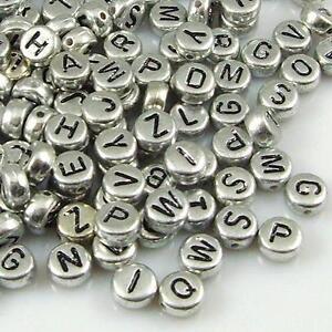 100-PCS-7-mm-Silver-Alphabet-Letter-Acrylic-Spacer-Beads-single-letter-A-Z