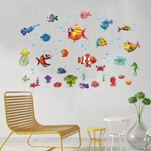Details zu Bad Deko Wandtattoo Unterwasserwelt Fische Badezimmer Entfernbar  Glasaufkleber