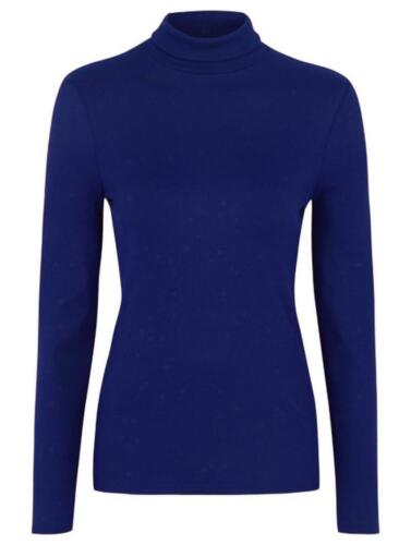 NEW WOMEN/'S LADIES POLYESTER RIBBED POLO TURTLE HIGH ROLL NECK LONG SLEEVE TOPS