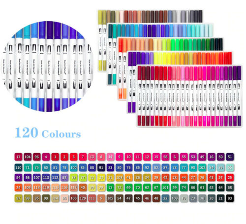 120 Colors Dual Tip Brush Marker Pens Art Watercolor Fineliner Drawing Bullet