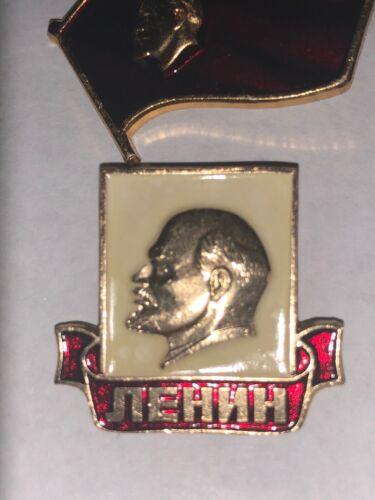 USSR Soviet Russia Communist Propaganda Lenin Pin Badges Set of 2 Red Gold White