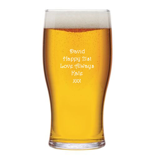 Personalised 1 Pint Tulip Beer Lager Glass Engraved 18th 21st 30th Birthday Gift