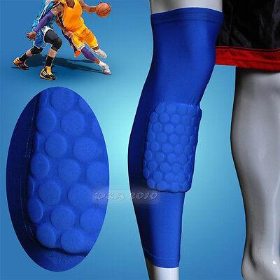 Honeycomb Pad Crashproof Antislip Basketball Leg Knee Long Sleeve Dark Blue M-XL