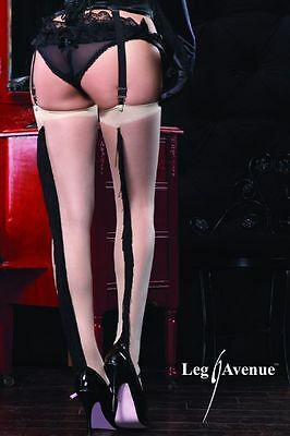 Bas Retro Pin-up Sexy Couleur Chair à Franges Noires élégance Leg Avenue