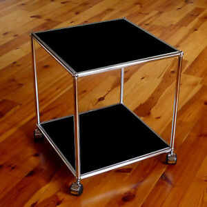 usm haller lowboard tisch beistelltisch rollen schwarz. Black Bedroom Furniture Sets. Home Design Ideas