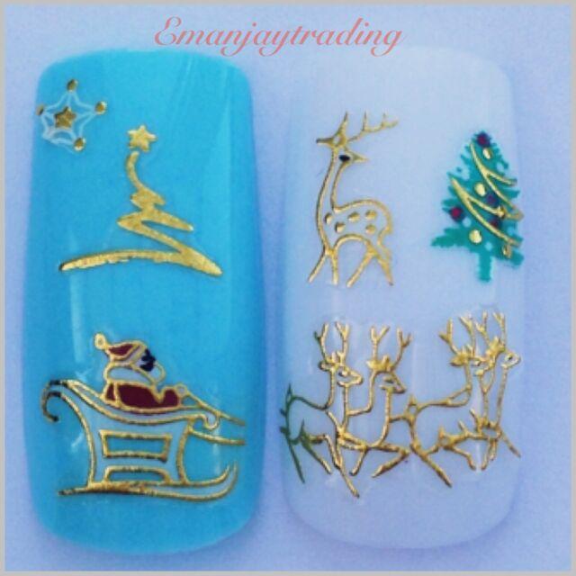 Nail Art 3D  Decals/Stickers Christmas Trees, Reindeer, Santa&Sleigh#176