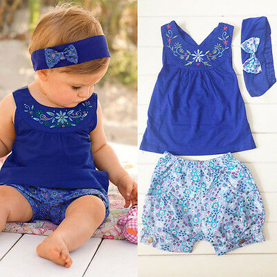 Baby Kids Girls Headband Shirts Pants Clothes 3PCS Outfits for newborn to 2 Year
