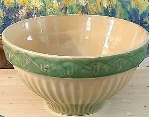 "Antique Stoneware Bowl - Yellow Ware 9 1/4"" -  Cream & Green Diamond Pattern"
