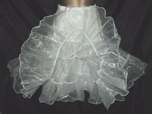 Vintage Bridal White Net Underskirt Crinoline Petticoat 2 Tiers Size S/m