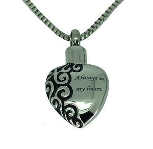 Herz Innerhalb Urne Halskette  Gedenk Asche Andenken  Feuerbestattung Schmuck