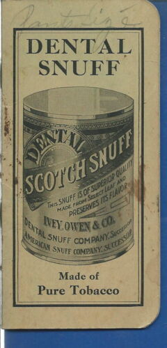 AO024 Dental Scotch Snuff 193738 Advertising Pocket Notebook Vintage