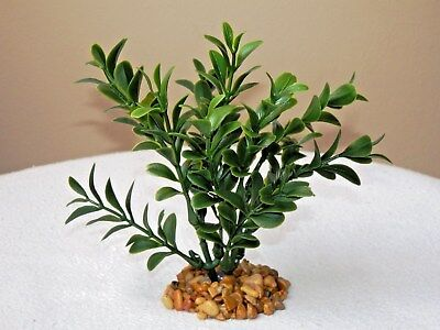 LIGHT GREEN BOXWOOD plastic PLANT w// STONE BASE Artificial Aquarium MINI 3/""