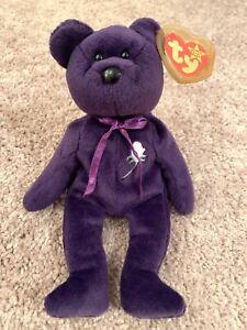 1997 Retired Ty Original Beanie Babies Princess Diana Purple Bear Tags Vtg Ebay