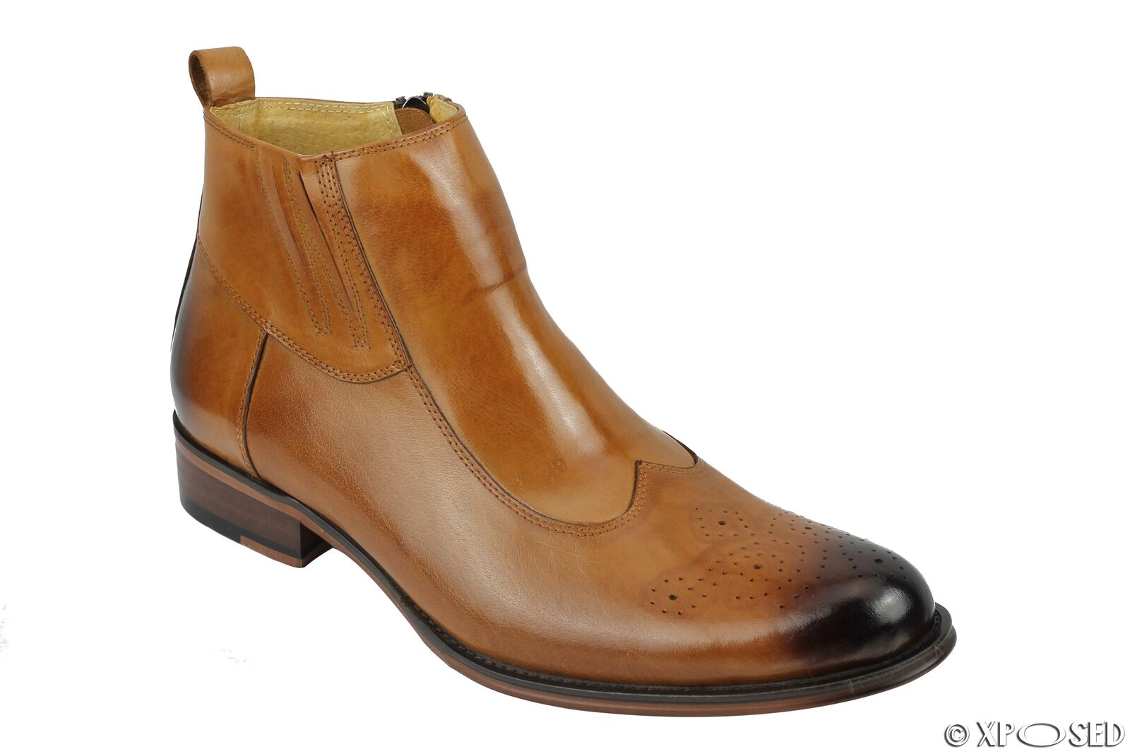 Uomo Vera Pelle Tan Brown CERNIERA LATERALE Casual Brogue Retrò Stivali Smart Casual LATERALE Vestito Scarpe b72b76