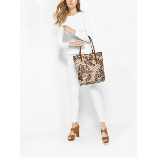 6b3f7fbb8697ca NWT Michael Kors Emry Large North/South Heritage Paisley Tote in Luggage  Brown