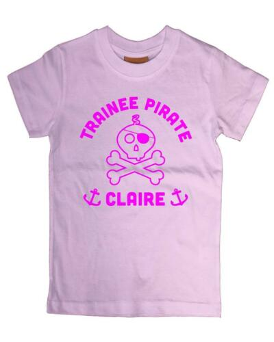 "Baby personalised name/'trainee pirate /""t-shirt cadeau noël déguisements drôle"