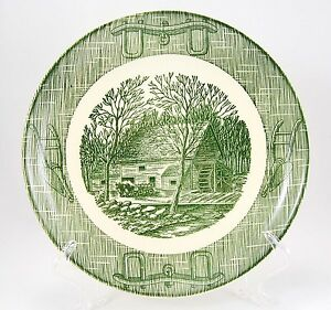 SCIO-CURRIER-AND-IVES-GREEN-Dinner-Plate-9-25-in-Plows-Harness-Center-Scene