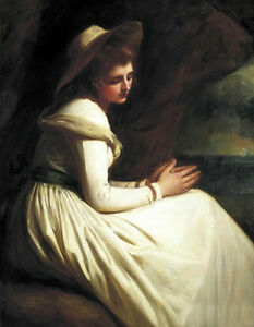 Nice Oil painting George Romney - Young girl Emma Hart as Ariadne in landscape