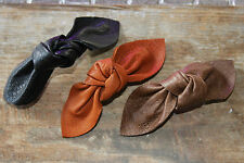Real leather bow barrette, large leather knot bow hair slide, brown bow, tan bow