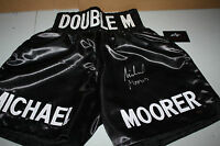 MICHAEL MOORER SIGNED BLACK BOXING TRUNKS FORMER CHAMP LEAF CERTIFIED