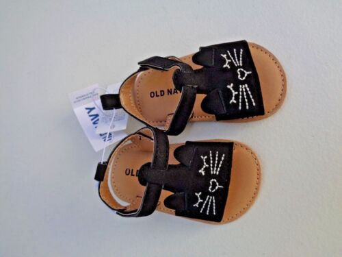 NEW Old Navy Sueded Critter Sandals Black Cat 1 2 3 5 6 NB Baby Girls Shoes